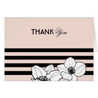 Blush Thank You | Floral Stripes Card