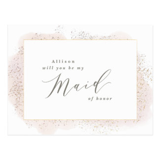 BLUSH TOUCH MAID OF HONOR POSTCARD. POSTCARD