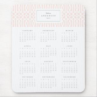 Blush Trellis Yearly Calendar Mousepad