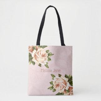 Blush Vintage Rose Flower Girl Tote Bag