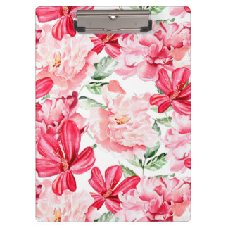 Blush Watercolor Floral Pattern Clipboard