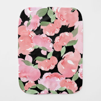 Blush Watercolor Peony Burp Cloth