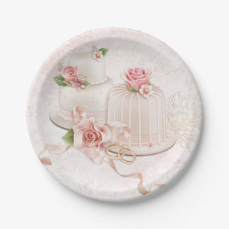 Blush Wedding Cakes with Roses Paper Plate