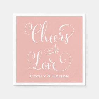 Blush Wedding Napkins   Cheers to Love Design
