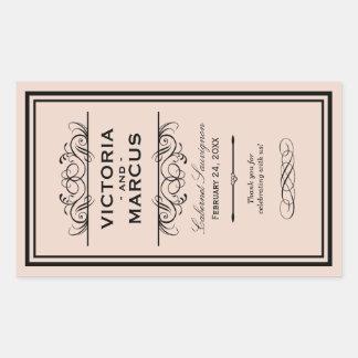 Blush Wedding Wine Bottle Monogram Favour Labels