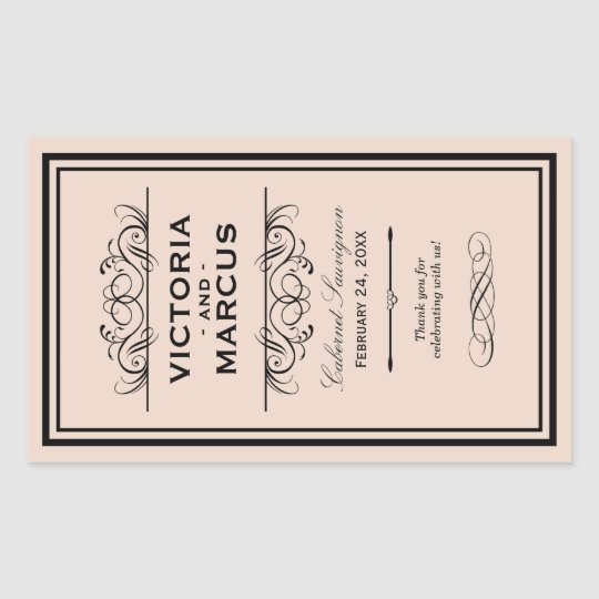 Blush Wedding Wine Bottle Monogram Favour Labels