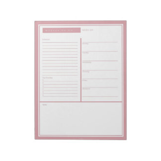 Blush Weekly To Do List Notepad