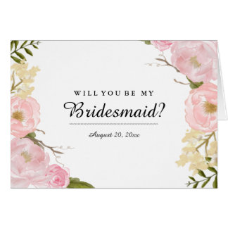 Blush White Botanical Will You Be My Bridesmaid Card