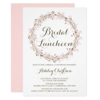Blush Winter Wreath Bridal Luncheon Invitation