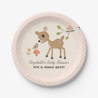 Blush Woodland Deer Baby Girl Shower Paper Plate