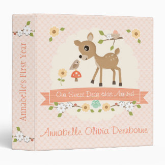 BLUSH WOODLAND DEER BABY PHOTO KEEPSAKE ALBUM BINDER