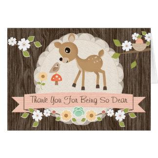 BLUSH WOODLAND DEER BABY SHOWER THANK YOU CARD