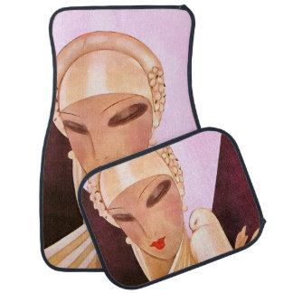 Blushing Bride Vintage Art Deco Illustration Floor Mat