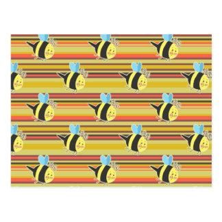 Blushing Bumblebee Striped Pattern Postcard