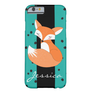 Blushing Fox with Custom Name Barely There iPhone 6 Case