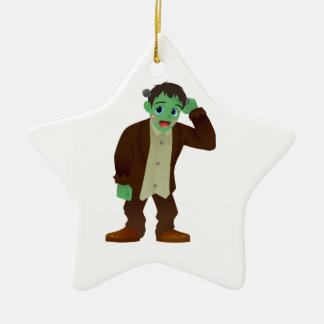 Blushing Frankenstein's Monster Scratching Head Ceramic Star Ornament