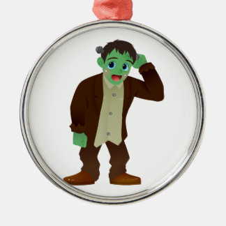 Blushing Frankenstein's Monster Scratching Head Silver-Colored Round Ornament