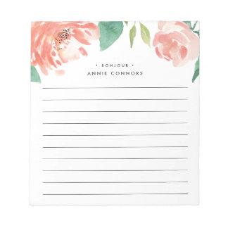 Blushing Peony | Personalized Lined Notepad