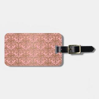Blushing Pink and Gold Girly Damask Luggage Tags
