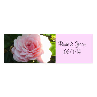 Blushing Pink Rose Save the Date Double-Sided Mini Business Cards (Pack Of 20)