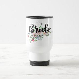 Blushing Rose Watercolor Floral Wedding Bride Travel Mug