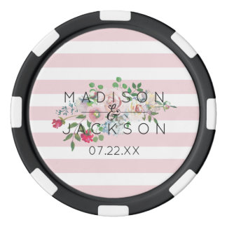 Blushing Rose Watercolor Floral Wedding Favor Poker Chips