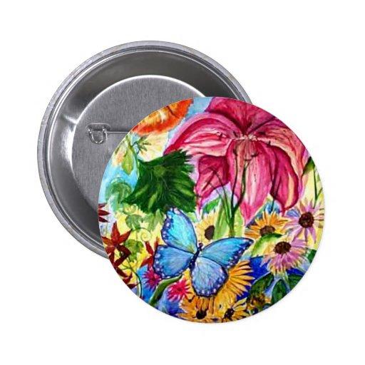 Blut Butterfly Garden Art Watercolor Pinback Button