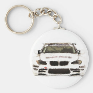 BMW M3 Racing Car Hand Painted Art Brush Template Basic Round Button Keychain