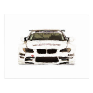 BMW M3 Racing Car Hand Painted Art Brush Template Postcard