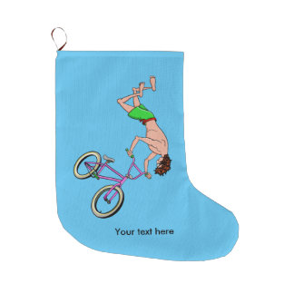 BMX Bike Rider Cartoon Large Christmas Stocking