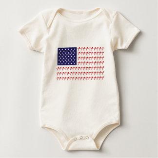 BMX Biker Patriotic Flag Baby Bodysuit