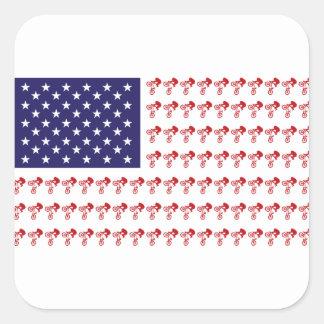 BMX Biker Patriotic Flag Square Sticker
