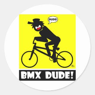 BMX DUDE-18 CLASSIC ROUND STICKER