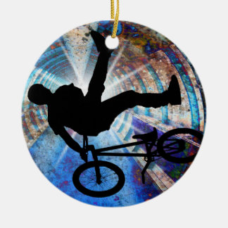 BMX in a Grunge Tunnel Ceramic Ornament