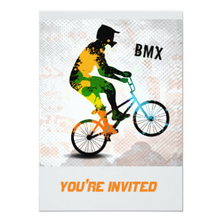 BMX Rider in Abstract Paint Splatters SQ WITH TEXT Card
