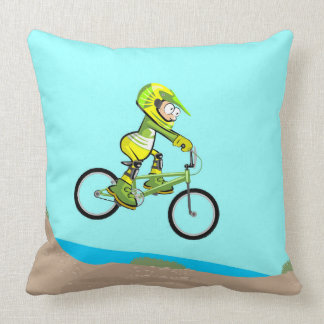 BMX young cicllismo jumping in earth track Throw Pillow