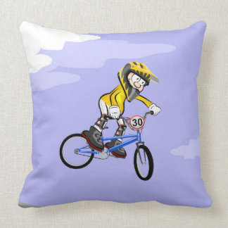 BMX young cycling jumping in the air Throw Pillow
