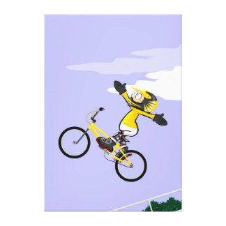 BMX young cycling making pirouettes in the air Canvas Print
