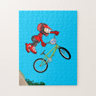 BMX young cycling making pirouettes in the air Jigsaw Puzzle