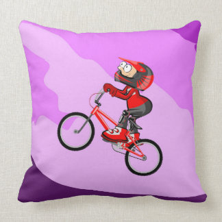 BMX young cycling raising the hill Throw Pillow