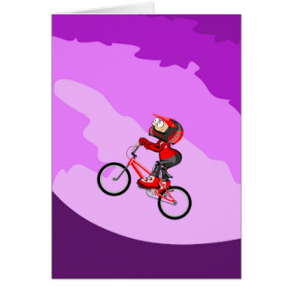 BMX young cycling raising with effort the hill Card