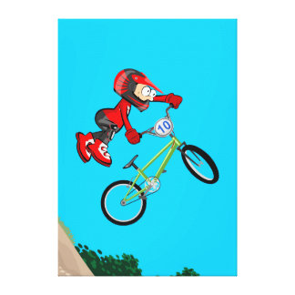 BMX young cycling showing its pirouette in the air Canvas Print