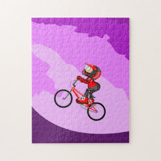 BMX young cycling taking impulse to arrive Jigsaw Puzzle