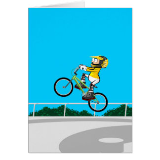 BMX young cycling taking impulse to rise Card