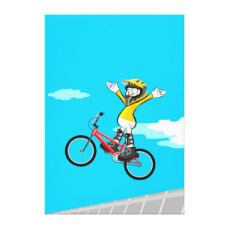 BMX young cycling with the extended arms Canvas Print