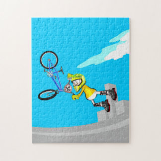 BMX young extreme cycling flying with its bicycle Jigsaw Puzzle