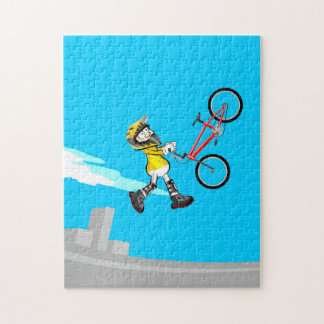 BMX young extreme cycling in the air with its bike Jigsaw Puzzle