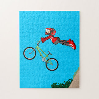 BMX young extreme cycling jumps to the emptiness Jigsaw Puzzle