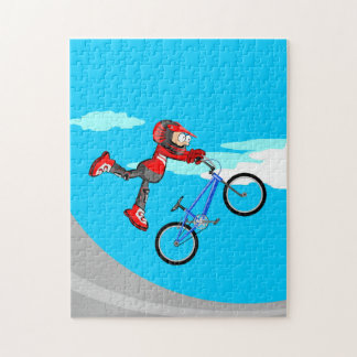 BMX young extreme cycling walking by the air Jigsaw Puzzle