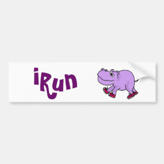 BN- Jogging Hippo Design Bumper Sticker